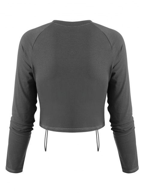unique Cinched Front Contrast Stitching Cropped Tee - DARK GRAY L Mobile