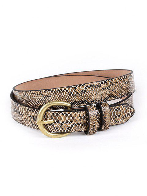 hot Snakeskin Patterned Buckle Belt - DARK GOLDENROD  Mobile