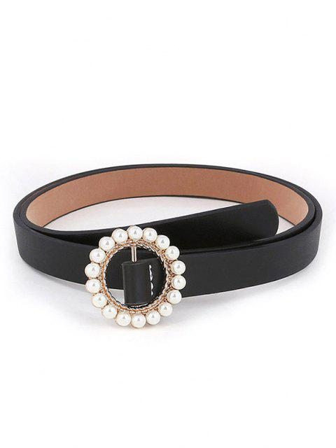 outfits Round Faux Pearl Inlaid Buckle Waist Belt - BLACK  Mobile