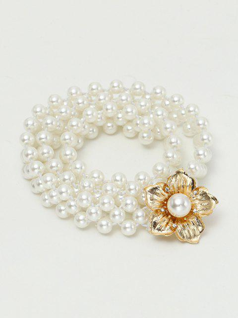shop Floral Elastic Faux Pearl Beaded Belt - MILK WHITE  Mobile