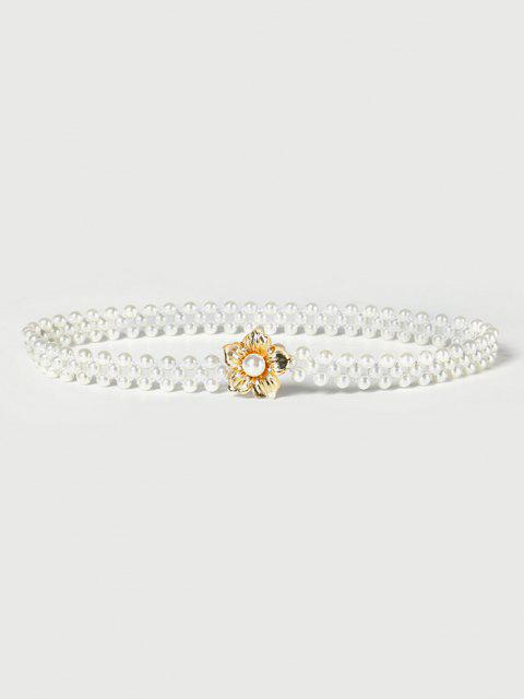 Floral Elastic Faux Pearl Beaded Belt - حليب ابيض  Mobile