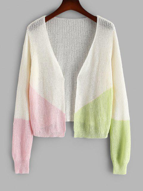 hot ZAFUL Plus Size Colorblock Open Front Cardigan - WHITE L Mobile