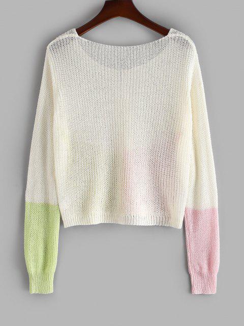 shop ZAFUL Plus Size Colorblock Open Front Cardigan - WHITE 3XL Mobile