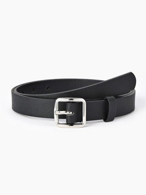 outfits Textured Minimalistic Square Buckle Belt - BLACK  Mobile