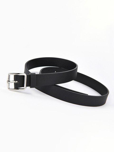 Textured Minimalistic Square Buckle Belt - أسود  Mobile