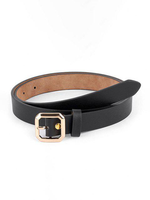 shops Metallic Octagon Embellished Solid Pin Buckle Belt - BLACK  Mobile