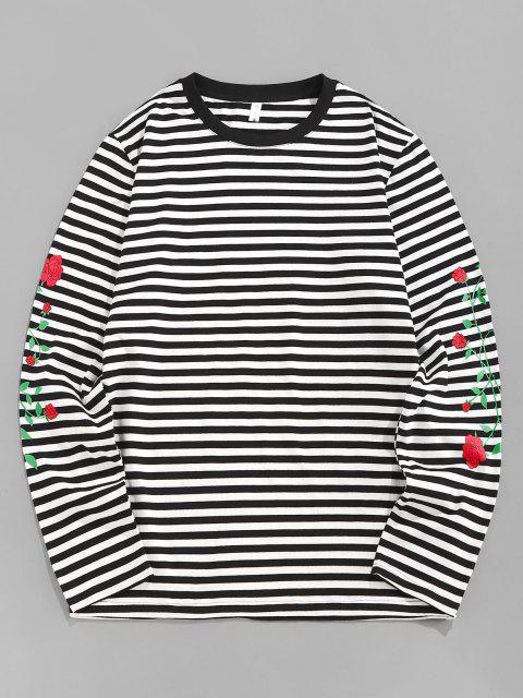 chic ZAFUL Rose Flower Striped Print Long Sleeve T-shirt - BLACK XL Mobile