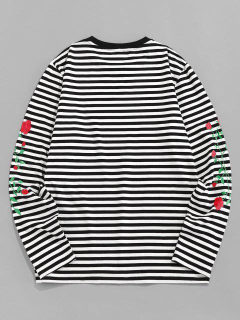 affordable ZAFUL Rose Flower Striped Print Long Sleeve T-shirt - BLACK L Mobile