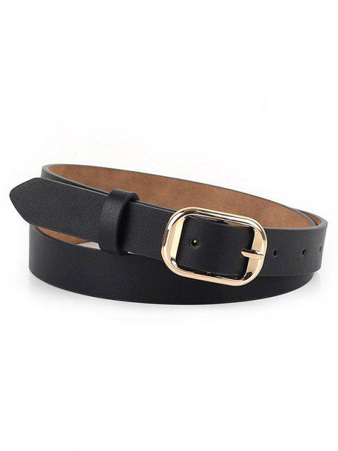 Polished Metallic Sleek Rectangle Buckle Belt - أسود  Mobile