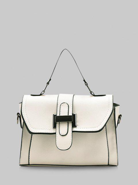 womens Retro Contrast Stitching Crossbody Bag - MILK WHITE  Mobile