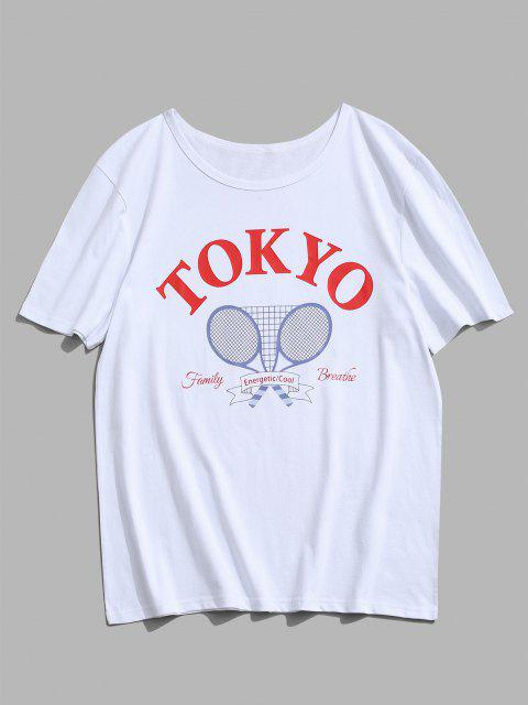 affordable Tokyo Tennis Rackets Letter Print Graphic T-shirt - WHITE XL Mobile