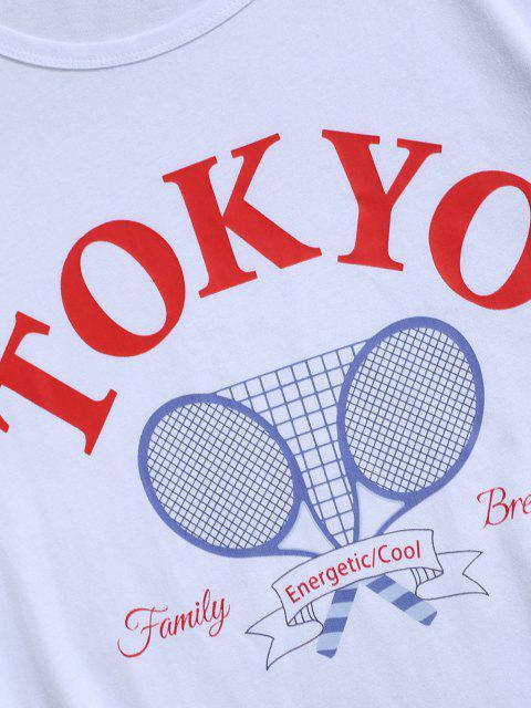 T-Shirt Grafica a Lettere - Bianca L Mobile