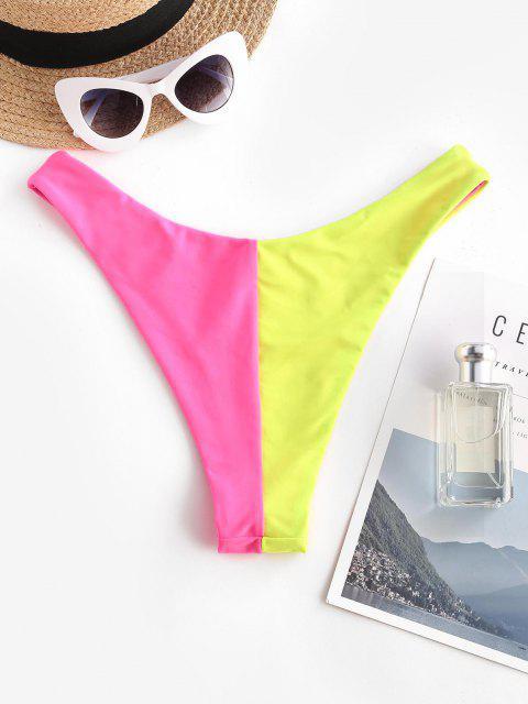ZAFUL Farbblock Bikini Unterteile mit Hohem Bein - Rot S Mobile