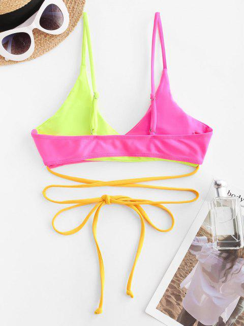 trendy ZAFUL Colorblock Criss Cross Wrap Bikini Top - RED M Mobile