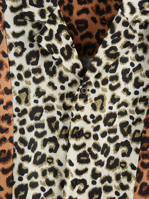 online ZAFUL Contrast Leopard Print Short Sleeve Shirt - LIGHT COFFEE L Mobile