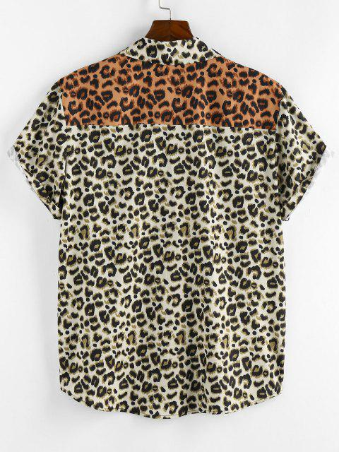 fancy ZAFUL Contrast Leopard Print Short Sleeve Shirt - LIGHT COFFEE M Mobile