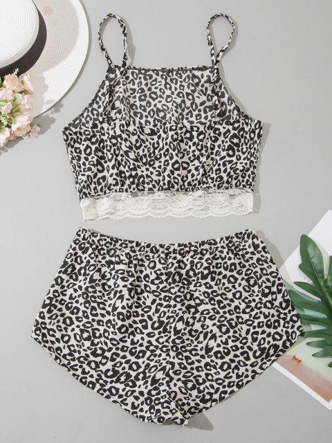 fancy Leopard Lace Hem Pyjamas - BLACK L Mobile