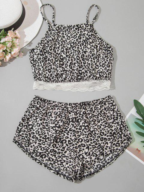 women Leopard Lace Hem Pyjamas - BLACK M Mobile