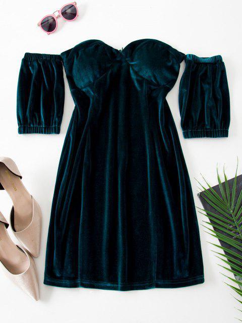 Sweetheart Off Shoulder Velvet Slinky Bodycon Dress - ديب غرين L Mobile