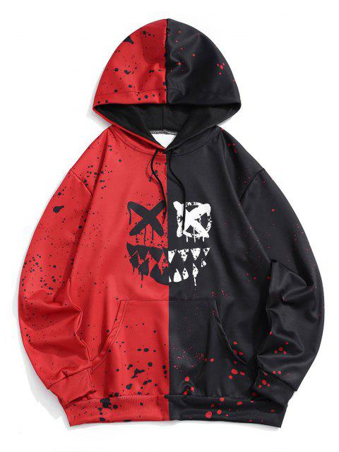 buy Cartoon Face Paint Splatter Print Contrast Hoodie - RED XL Mobile
