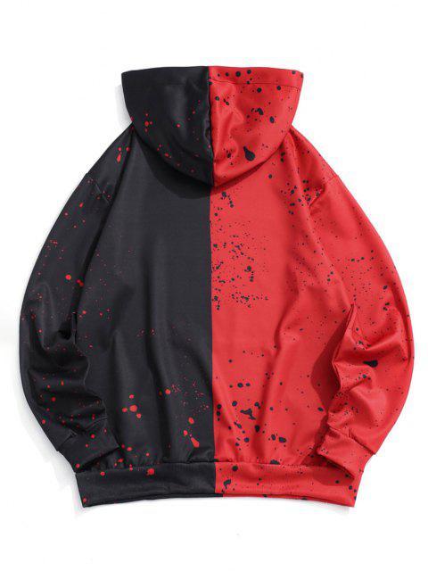 Cartoon Gesicht Farben Spritzer Druck Kontrast Hoodie - Rot XL Mobile