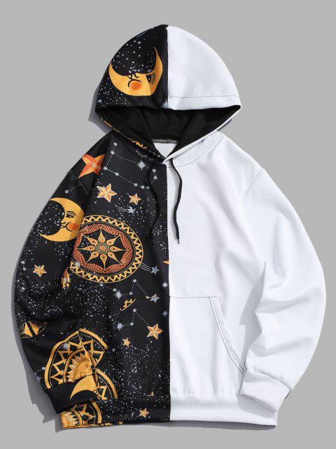 shop Kangaroo Pocket Moon Star Print Contrast Hoodie - YELLOW S Mobile