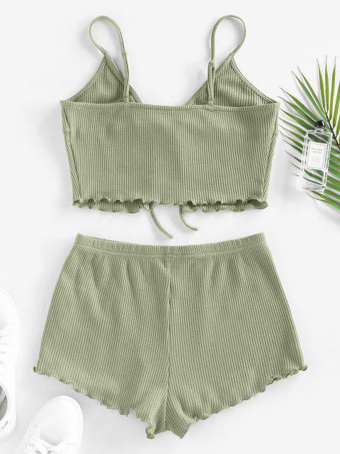 buy ZAFUL Knitted Lettuce Trim Tie Front Lounge Shorts Set - LIGHT GREEN L Mobile