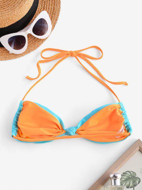 ZAFUL Halter Knotted Convertible Padded Bikini Bra - أزرق فاتح S Mobile