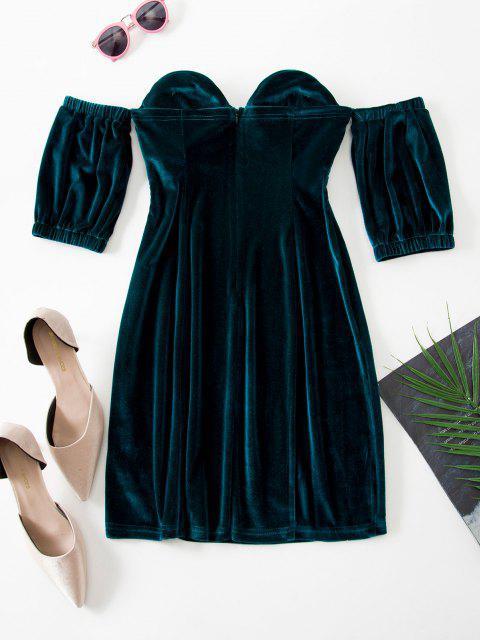 Schulterfreies Bodycon Wickeloptik Kleid mit Herzförmigem Ausschnitt - Dunkelgrün M Mobile