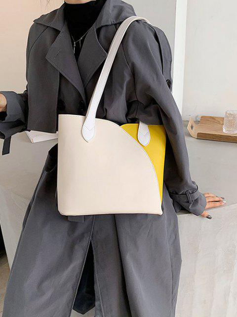 chic Splicing Work Tote Bag - CORN YELLOW  Mobile