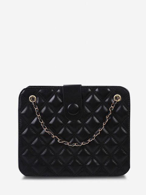 Quilted Chain-Trimmed Convertible Strap Square Shoulder Bag - أسود  Mobile