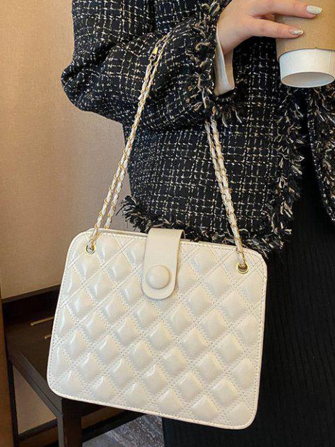 sale Quilted Chain-Trimmed Convertible Strap Square Shoulder Bag - WARM WHITE  Mobile