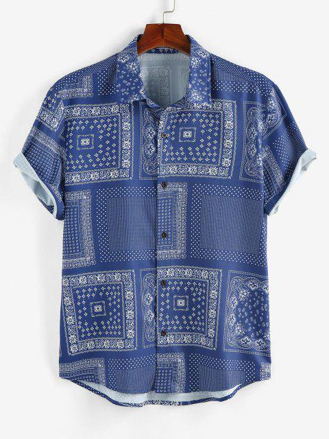 lady ZAFUL Scarf Print Short Sleeve Shirt - BLUE XL Mobile