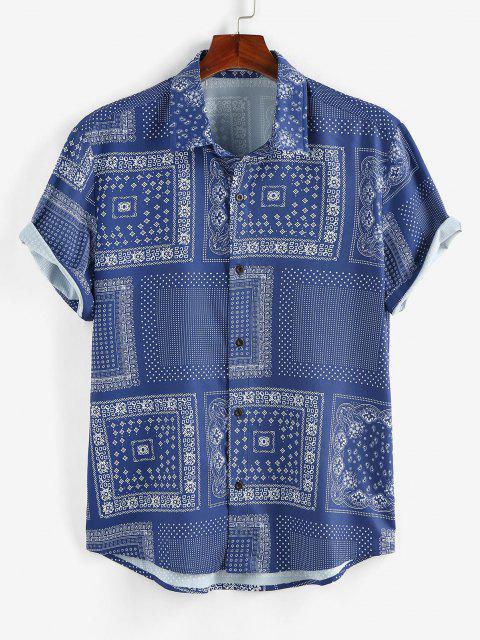 hot ZAFUL Scarf Print Short Sleeve Shirt - BLUE L Mobile