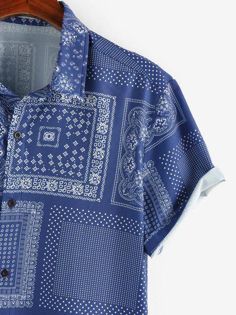 ZAFUL Kurzärmliges Hemd mit Schal - Blau XXL Mobile