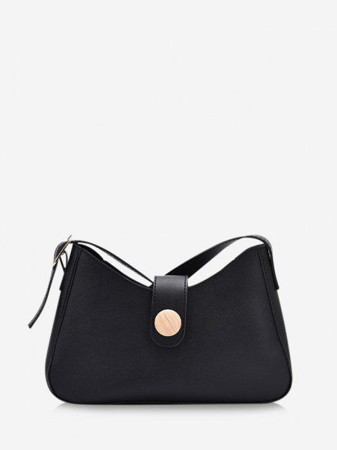 ladies Button Embellished Shoulder Bag - BLACK  Mobile