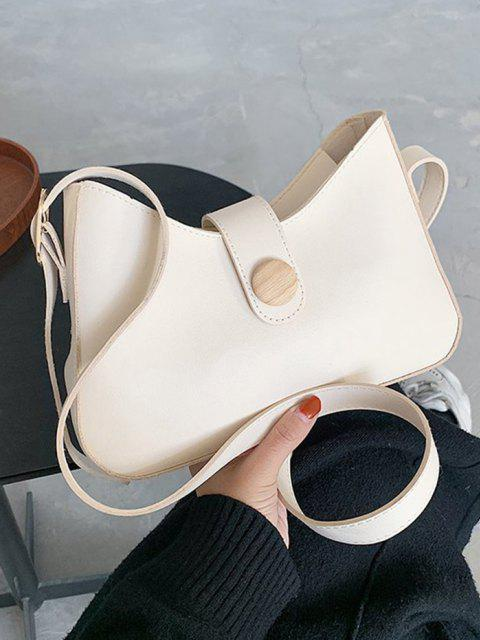 lady Button Embellished Shoulder Bag - WARM WHITE  Mobile