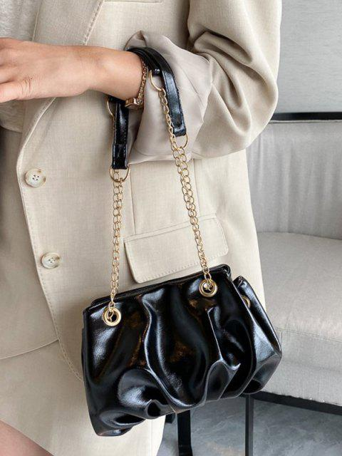 shops Solid Pleated Chain Shoulder Bag - BLACK  Mobile