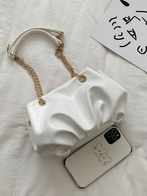 latest Solid Pleated Chain Shoulder Bag - CRYSTAL CREAM  Mobile