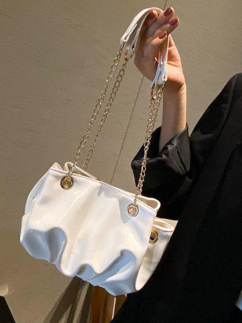 Solid Pleated Chain Shoulder Bag - كريم كريستال  Mobile