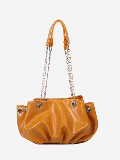 fashion Solid Pleated Chain Shoulder Bag - BEE YELLOW  Mobile