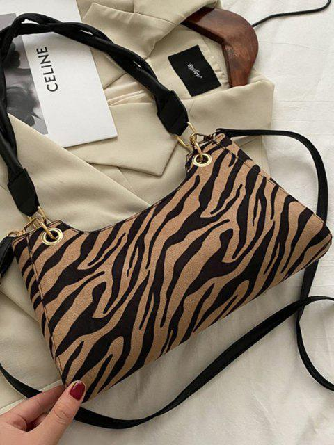 unique Zebra Striped Pattern Shoulder Bag - LIGHT BROWN  Mobile