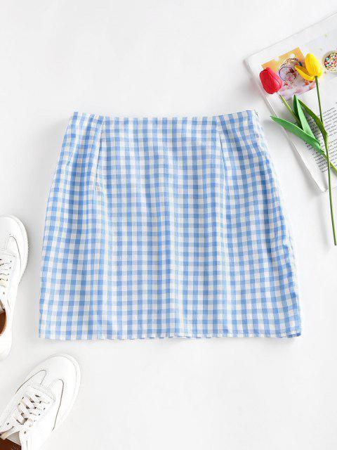 ZAFUL Gingham Slit Mini Skirt - أزرق فاتح M Mobile