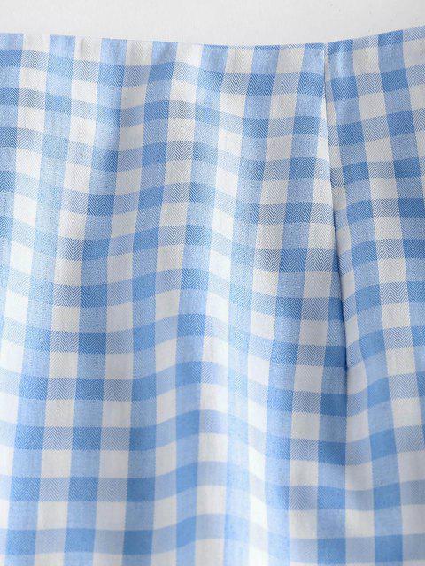 womens ZAFUL Gingham Slit Mini Skirt - LIGHT BLUE S Mobile