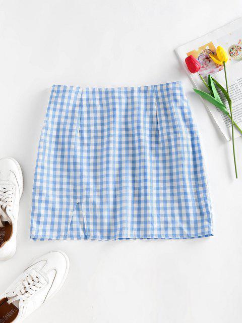 ZAFUL Gingham Slit Mini Skirt - أزرق فاتح S Mobile
