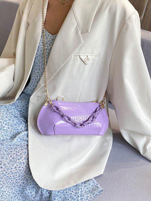 Bolsa de mão com couro texturizado - Cor de Malva  Mobile