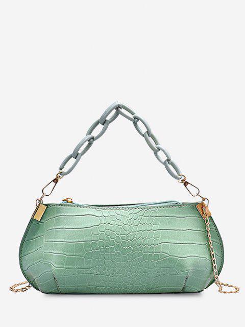 Bolsa de mão com couro texturizado - Verde de Algas    Mobile