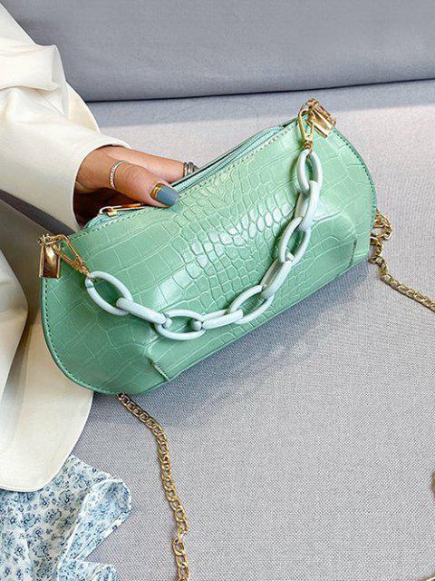women Textured Chains Handbag - ALGAE GREEN  Mobile