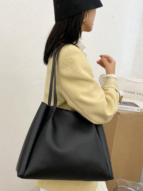 affordable Minimalistic Double Strap Shoulder Bag with Inner Pouch - BLACK  Mobile