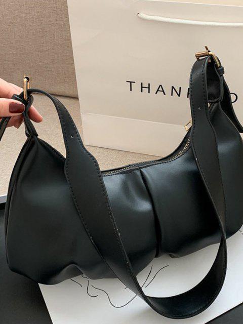 womens Soft Draped Buckle Strap Solid Shoulder Bag - BLACK  Mobile